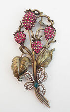 NEW SWEET ROMANCE SWEET STRAWBERRIES CRYSTAL PIN ~~MADE IN USA ~~
