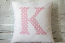"Personalised Pink Spot Initial - 16"" white cushion cover Shabby Chic Nursery"