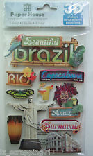 ~BEAUTIFUL BRAZIL~ Paper House Productions 3D Stickers; Rio, Amazon, Carnaval
