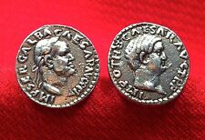 Ancient Roman Emperors Galba & Otho Silver Tone Unique Coin Cufflinks + Gift Box