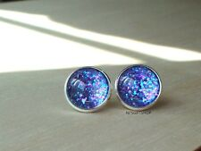 Glittering Blue/Purple multi color Stud earrings,elegant and cute gift for her