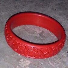 """3/4"""" Red CINNABAR Carved AUTUMN LEAVES Filigree VINTAGE Bangle Bracelet Vtg."""