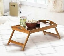 Bamboo Serving Wood Tray Food Trays Breakfast in Bed and Table 2-in-1