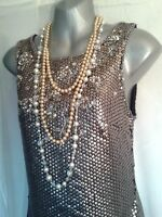 Vtg 1920,s style Gatsby metalic gold beaded sequined flapper dress size 10