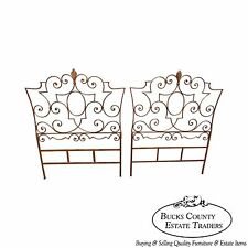 Salvadori Italian Gilt Metal Wrought Iron Hollywood Regency Pair Twin Headboards