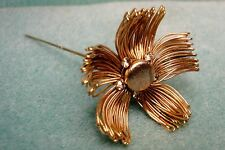 Vintage Wire Wrapped Flower Floral Rhinestone Long Hat Ornament Stick Pin