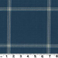 Roth & Tompkins Plaid Drapery Upholstery Fabric Hepburn Cobalt Blue Grey Tan