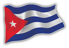 Cuba Waving Flag Car Bumper Sticker Decal 5'' x 3''