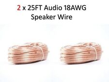 2 x 25ft Audio 18AWG Speaker Wire Used For connecting speakers to receivers