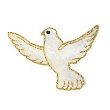 ID 0626 Lot of 4 White Dove Peace Love Bird Embroidered Iron On Applique Patch