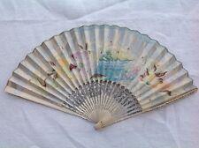 Eventail ancien papier peint décor japonisant XIX XX ART NOUVEAU élégantes