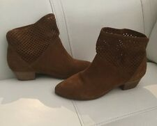 NEW Anthropologie 67 SixtySeven Suede Perforated Sofia Ankle Boots Size 38 Rust