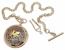 Pewter Fronted Two Tone Celtic Knot With Dragon 59 Mother Of Pearl Pocket Watch