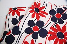 Marimekko Style Floral Red White Blue Fabric 3yds