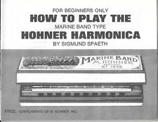 1971 Vintage How to play the Marine Band No 1896 M Hohner Harmonica Manual