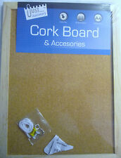 Just Stationary A4 Wood Edge Cork Message Board with Pins & Mounting Options