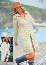 SIRDAR 8371 - LADIES CABLE & BOBBLE ARAN JACKETS KNITTING PATTERN 32/54in