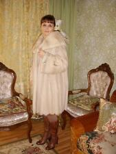 LUXURIOUS PALOMINO MINK Fur Coat With Scalloped Hem and Fur Belt  M L 10 12
