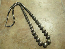 VERY OLD Navajo Graduated Sterling Silver PEARL Bead Necklace on Foxtail   30.5""