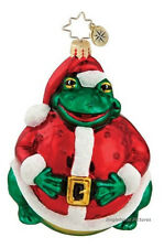 "Christopher Radko SANTA TOAD Blown Glass Ornament 5"" Poland Frog Claus Suit NEW!"