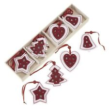 HEAVEN SENDS BOX OF 12 NORDIC WOOD FELT CHRISTMAS TREE DECORATIONS ORNAMENTS