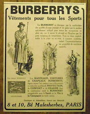 PUBLICITE BURBERRYS VETEMENTS SPORTS      advert  1924