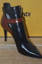 NIB FENDI Womens LAZ Black/Red Leather Ankle Boot w/Side Buckles Sz 7.5 EUR 37.5