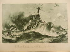 1914 BRITISH BATTLE SQUADRON AT FULL SPEED IN THE NARROW SEAS ROYAL NAVY WWI WW1
