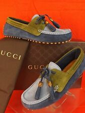 NIB GUCCI  BLUE TWO TONE SUEDE DAMO BAMBOO TASSEL DRIVER LOAFERS 8 9 #367923
