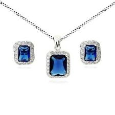 18K WHITE GOLD PLATED GENUINE SAPPHIRE CUBIC ZIRCONIA NECKLACE AND EARRING SET