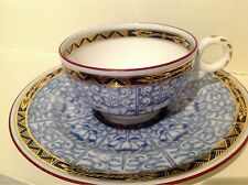 Royal Worcester Trellis Blue Lily Gold Gilded Tea Cup And Saucer