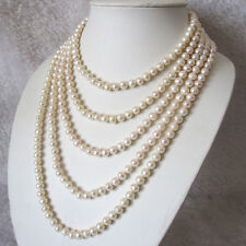 100 Inches 6-8mm White Freshwater Pearl Strand Necklace, Pearl Long Necklace