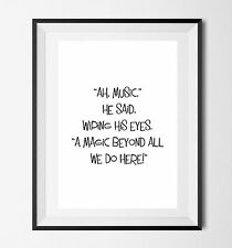 Inspirational Quote Poster Art Print A4 Music gift dumbledore harry potter Wizar