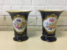 Vintage Antique German Meissen Porcelain Pair of Cobalt & Gold Vases w Flowers