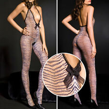 Opaque Tiger Stripe Animal Print Deep V-Neck Crotchless Bodystocking Bodysuit