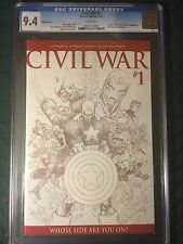 Civil War #1 CGC 9.4 NM White Pages 1:75 Sketch Variant Michael Turner