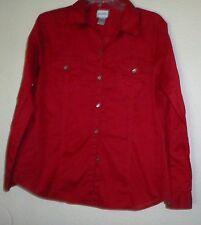 CHICO'S RED 100% COTTON BUTTON DOWN SHIRT SIZE 2