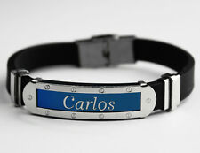 CARLOS - Mens Silicone & Blue Name Plate Engraved Bracelet - Gifts For Him