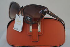 DG SUNGLASSES CELEBRITY HOLIDAY BROWN GISELLE CATEYE COLLECTION +ORANGE CASE *12