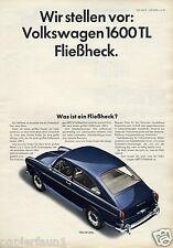 VW 1600 TL Reklame 1966 Einführung Vorstellung Fließheck Werbung ad Volkswagen