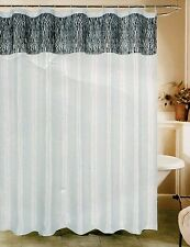 "Zebra Print White & Black Fabric Shower Curtain 70""x72"" Beatrice Home Fashions"