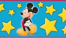 MICKEY MOUSE ALL STAR BLUE WALLPAPER BORDER; PREPASTED