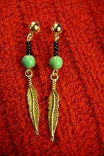 Native American Indian - Turquoise with Feather Silver Post Earrings
