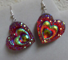 UNIQUE HEART SHAPED RED EARRINGS BLING VALENTINES DAY nora winn