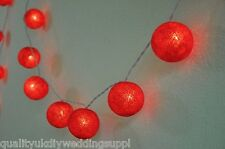 Red Cotton Balls Fairy Light String Kids Room Nursery Home Decorations 3 Meters