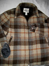 VTG WOOLRICH USA BROWN PLAID FAUX FUR FLEECE LINED WOOL JACKET-YKK ZIPPER-L /XL