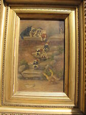 Antique Oil Painting On Board Dogs and Geese Signed by Listed Artist J.Silbert