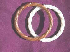 2 Excellent Vintage Faux Ivory & Wood Twisted Bangle Bracelets With Gold Wire