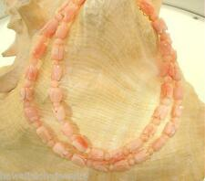 Graduated 1-Strand Carved Natural Pink Angelskin Coral Rose Flowers Necklace 19""
