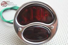 28-31 Model A Tail Light Lamp Assembly Braided Wire Right Hand Stop Glass Lens